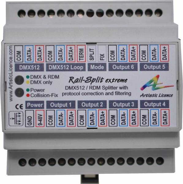 Photo of a DIN rail DMX splitter